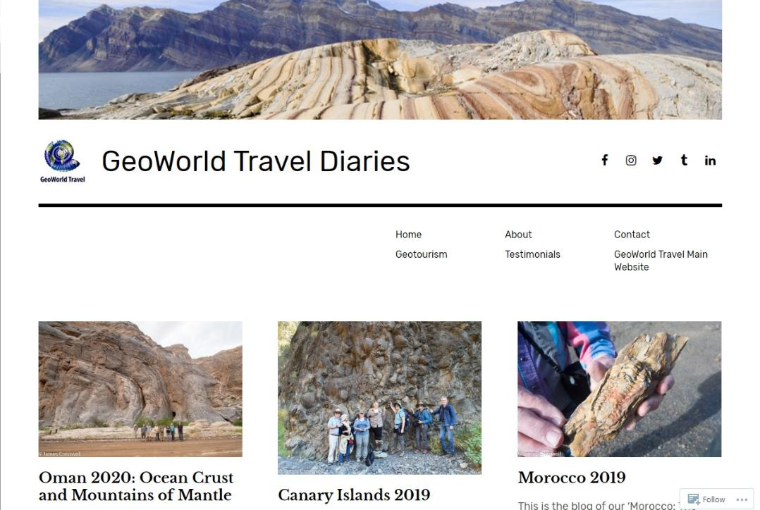 GeoWorld Travel Diaries website